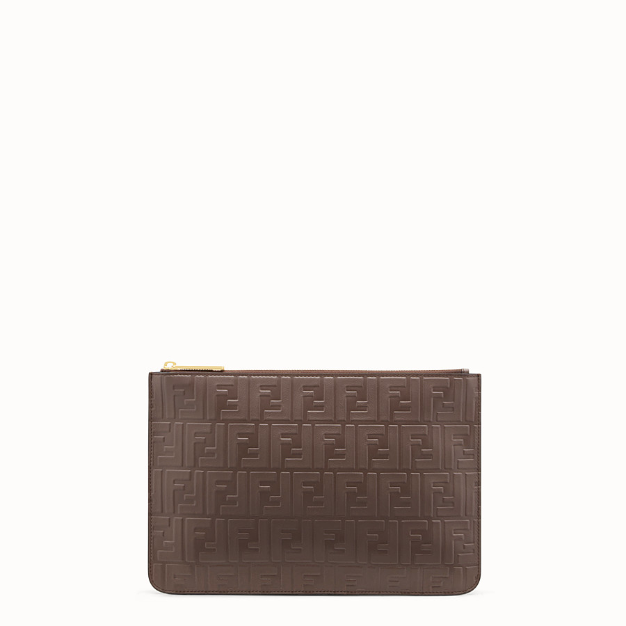 FENDI CLUTCH - Brown leather pouch - view 1 detail