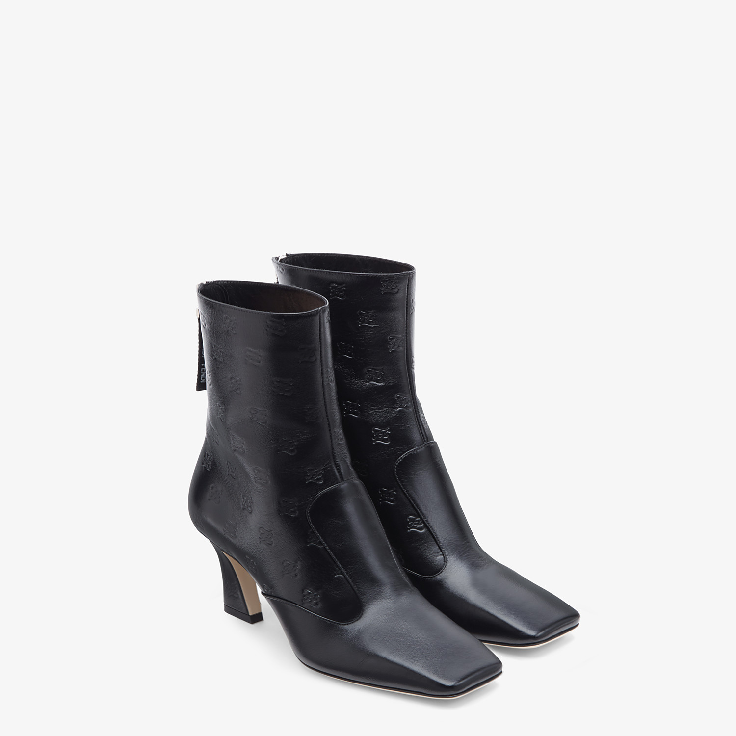 FENDI BOOTS - Black leather booties - view 4 detail