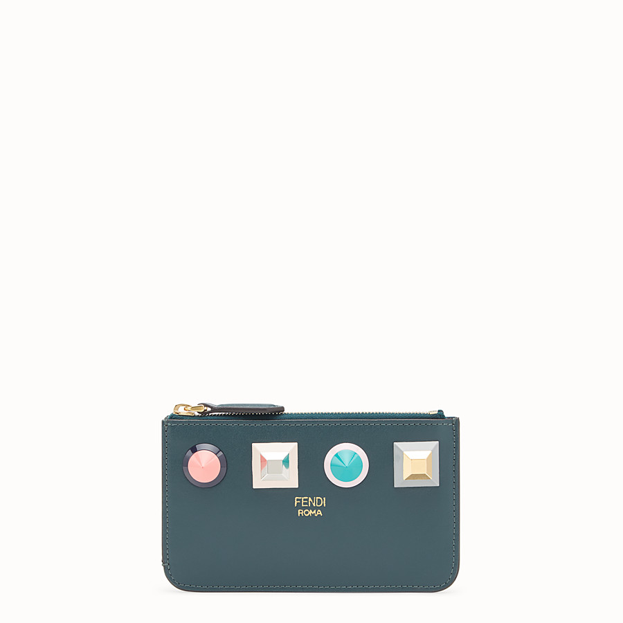 FENDI KEY RING POUCH - Green leather pouch - view 1 detail