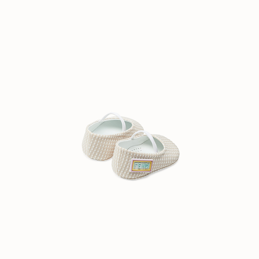 FENDI BALLERINAS - Quinoa colour jacquard fabric baby ballerinas - view 2 detail