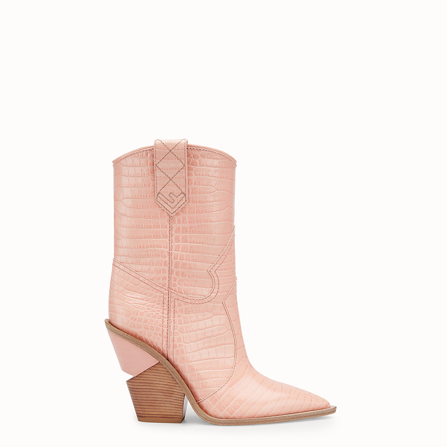 FENDI BOOTS - Pink crocodile-embossed ankle boots - view 1 detail