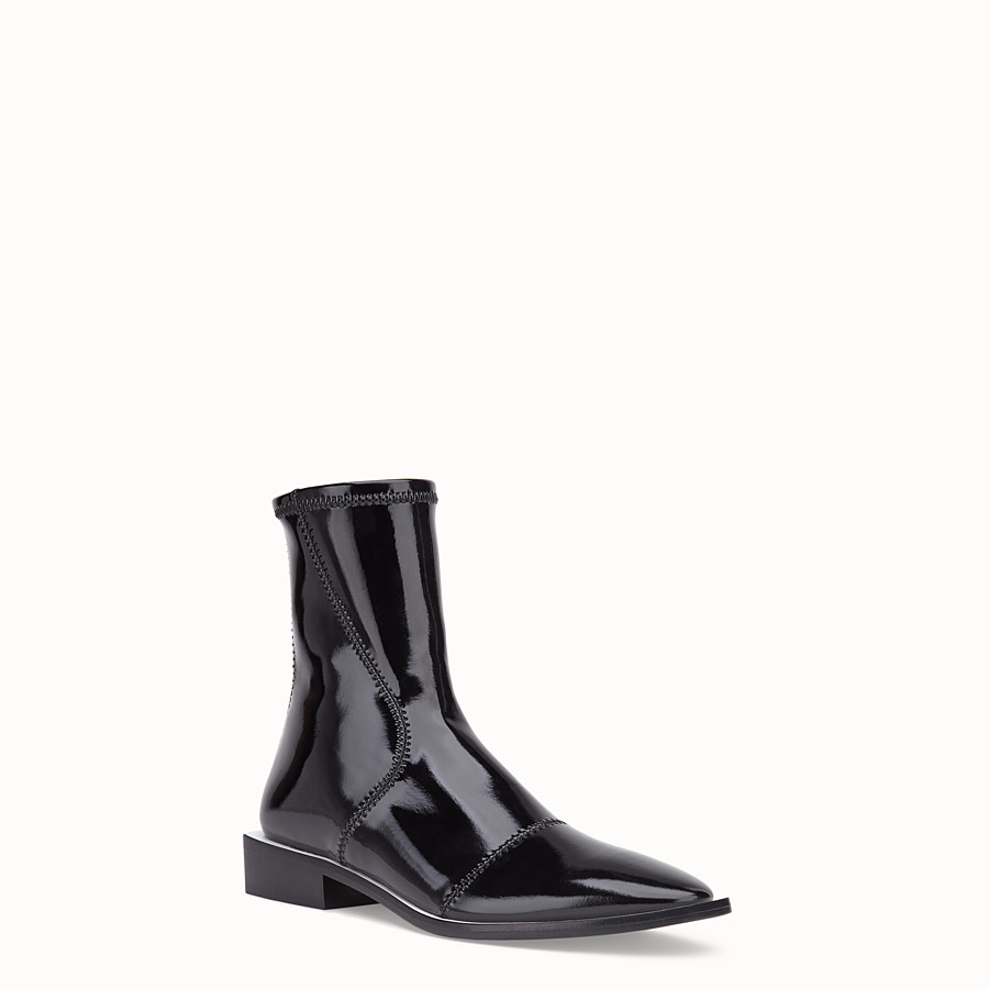 FENDI BOOTS - Glossy black neoprene low ankle boots - view 2 detail