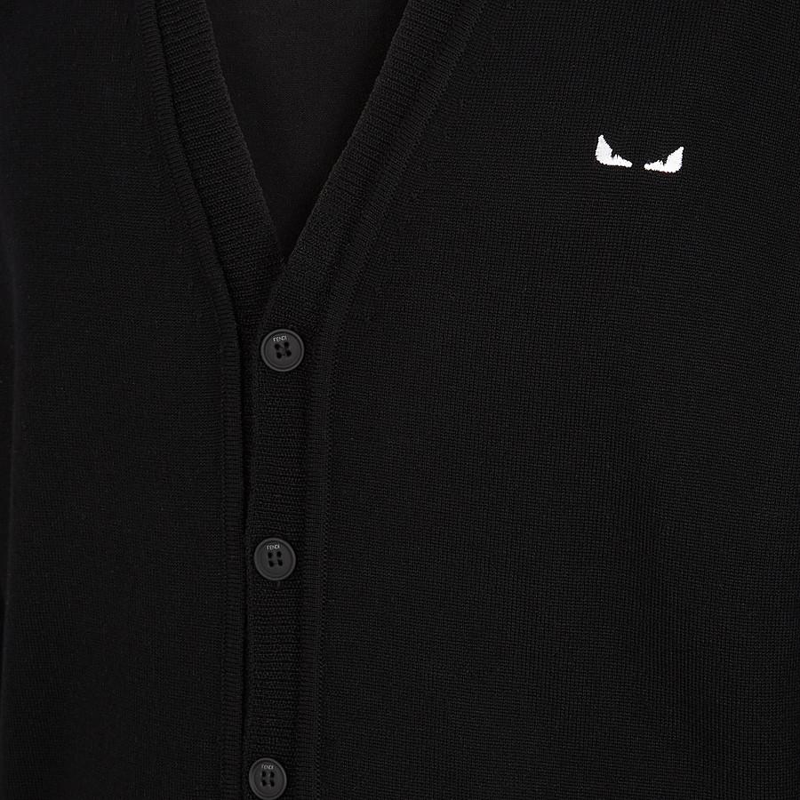 FENDI 開襟毛衣 - 黑色羊毛開襟毛衣 - view 3 detail