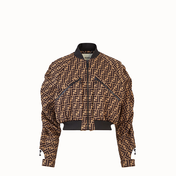 FENDI BOMBER - Brown cotton jersey bomber - view 1 small thumbnail