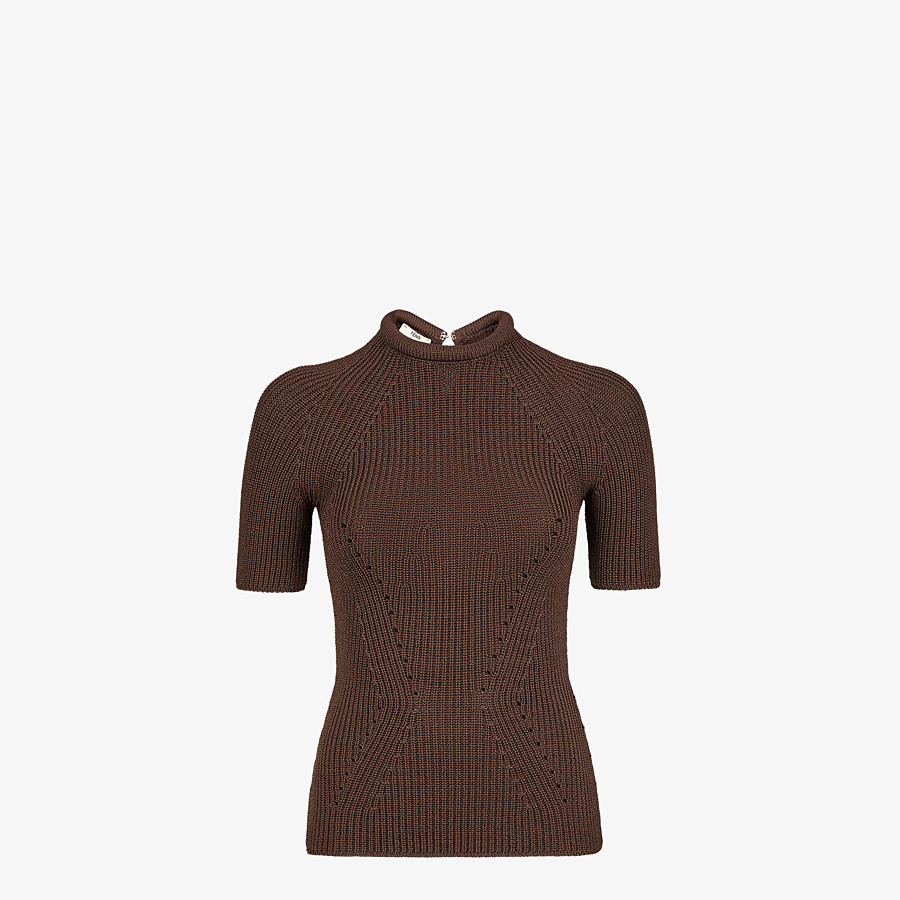 FENDI JUMPER - Brown silk pullover - view 1 detail
