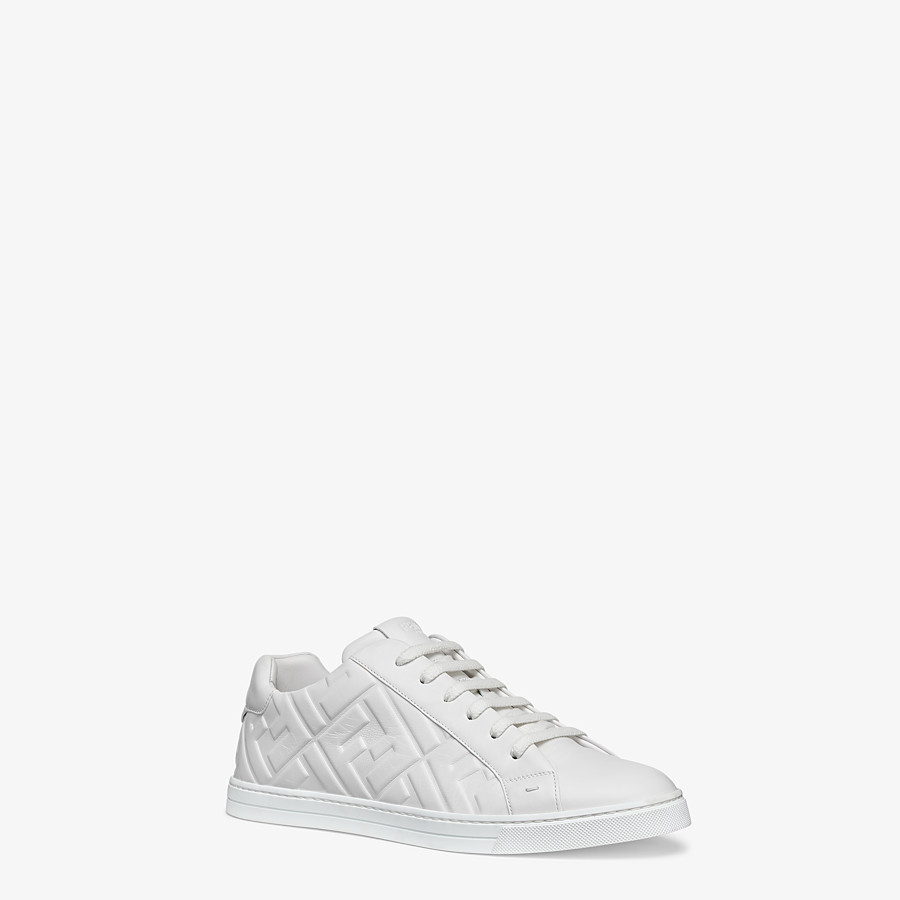 FENDI SNEAKERS - White nappa leather low-tops - view 2 detail
