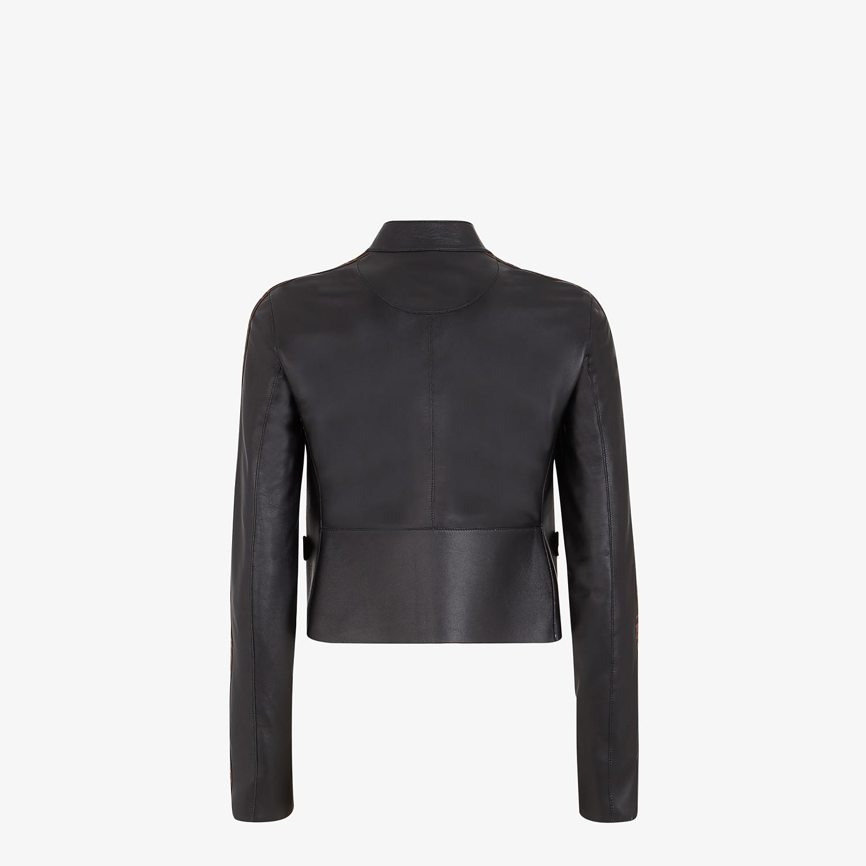 FENDI JACKET - Black leather jacket - view 2 detail
