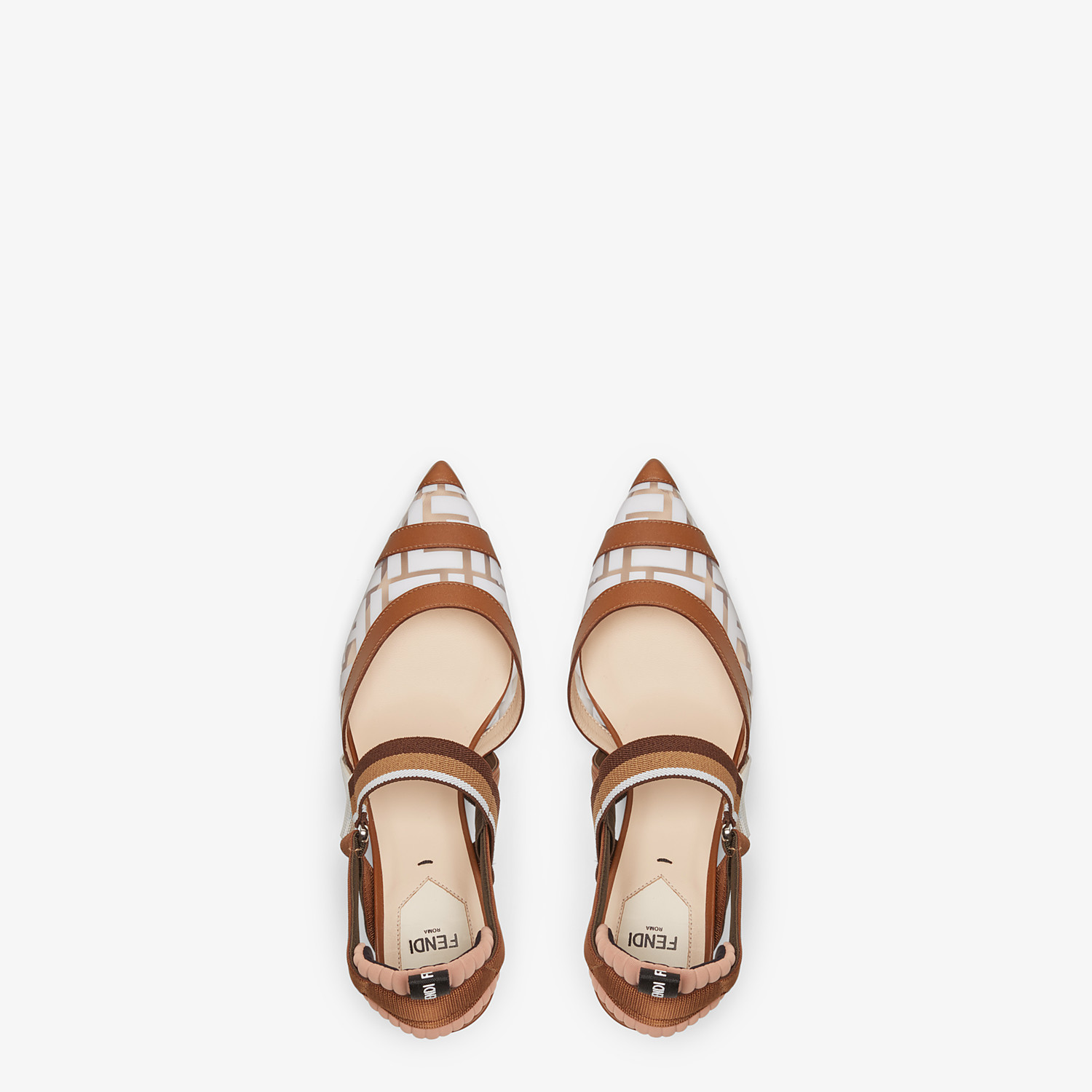 FENDI SLINGBACK - Colibrì in PU and white leather - view 4 detail
