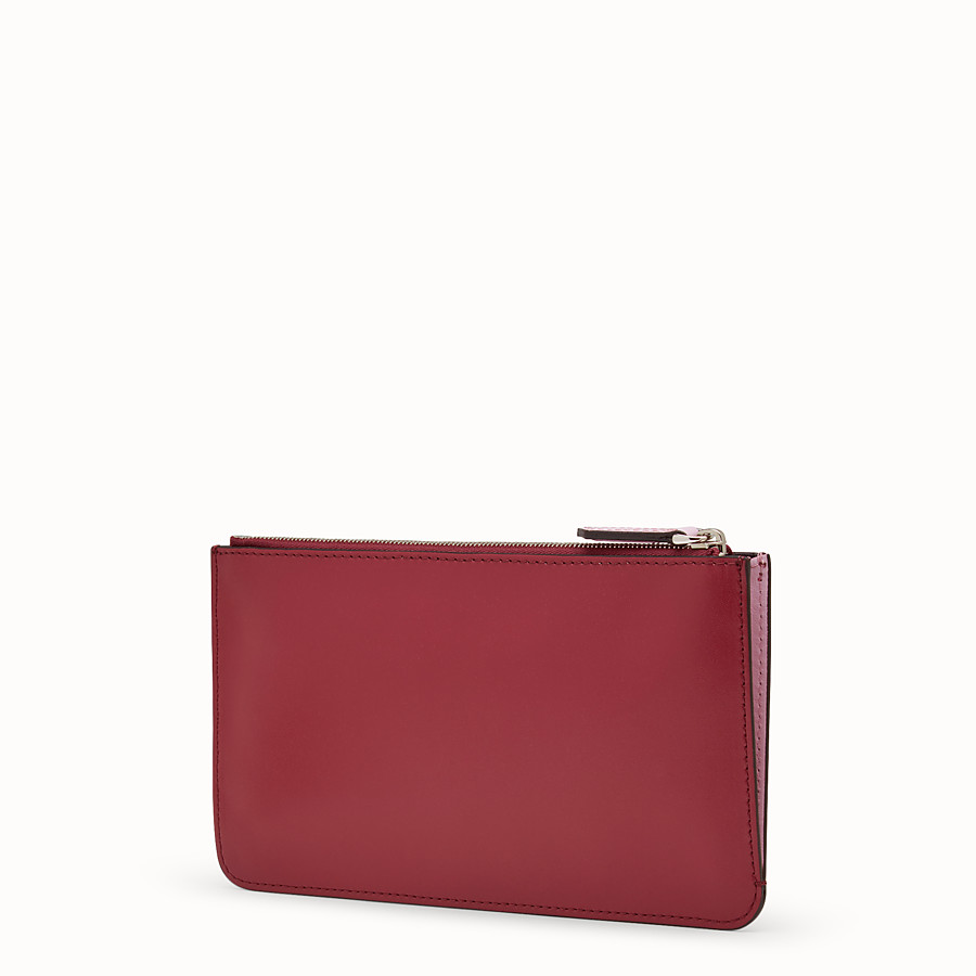 FENDI FLAT CLUTCH - Red leather pouch - view 2 detail