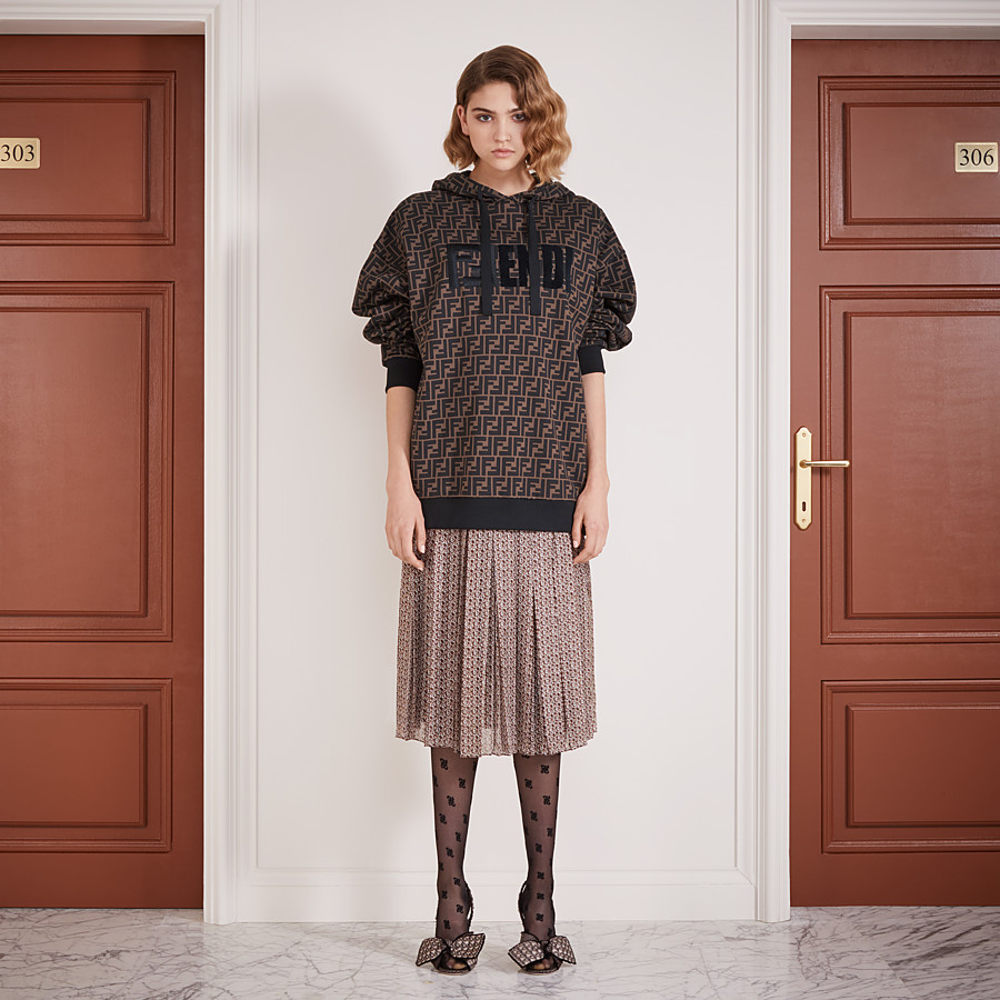 FENDI SKIRT - Skirt in pink and brown silk - view 4 detail
