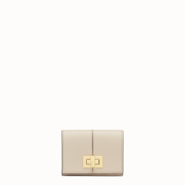 FENDI MICRO TRIFOLD - Beige leather wallet - view 1 small thumbnail