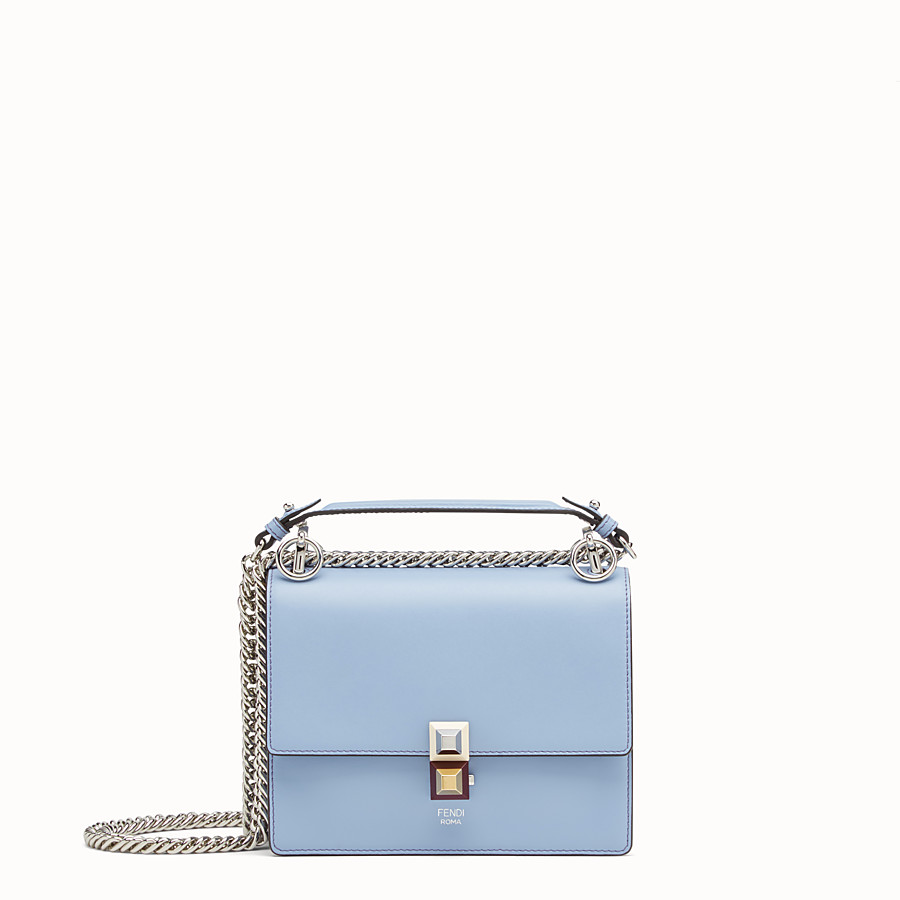 FENDI KAN I SMALL - Mini-sac en cuir bleu clair - view 1 detail
