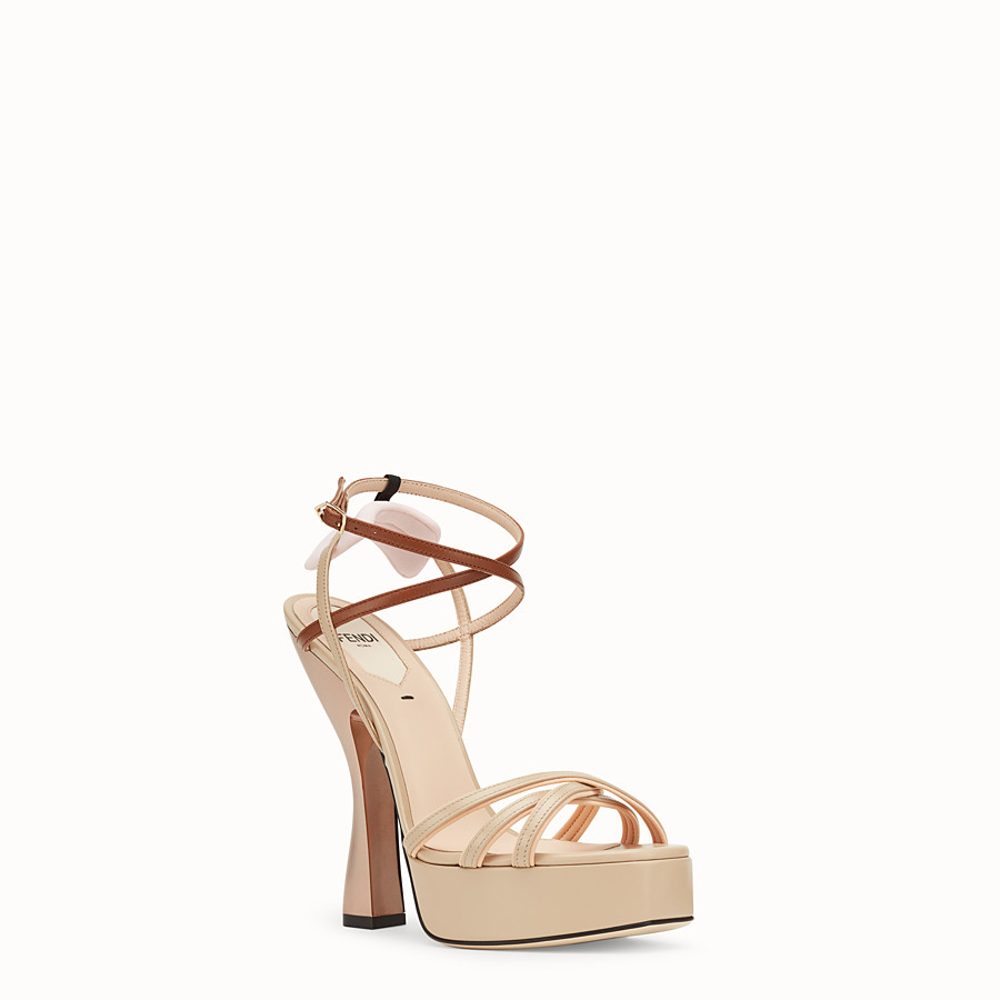 FENDI SANDALS - Beige leather sandals - view 2 detail