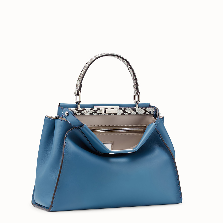 FENDI PEEKABOO REGULAR - Pale blue leather bag with exotic details - view 2 detail