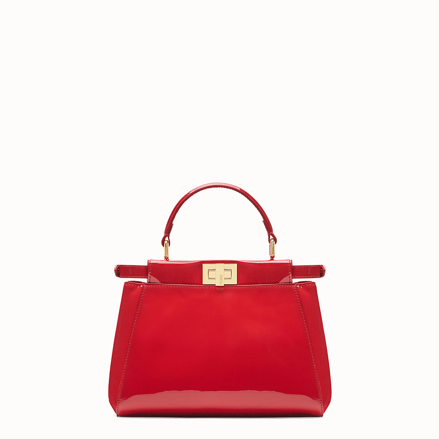 FENDI PEEKABOO ICONIC MINI - Red patent leather bag - view 4 detail