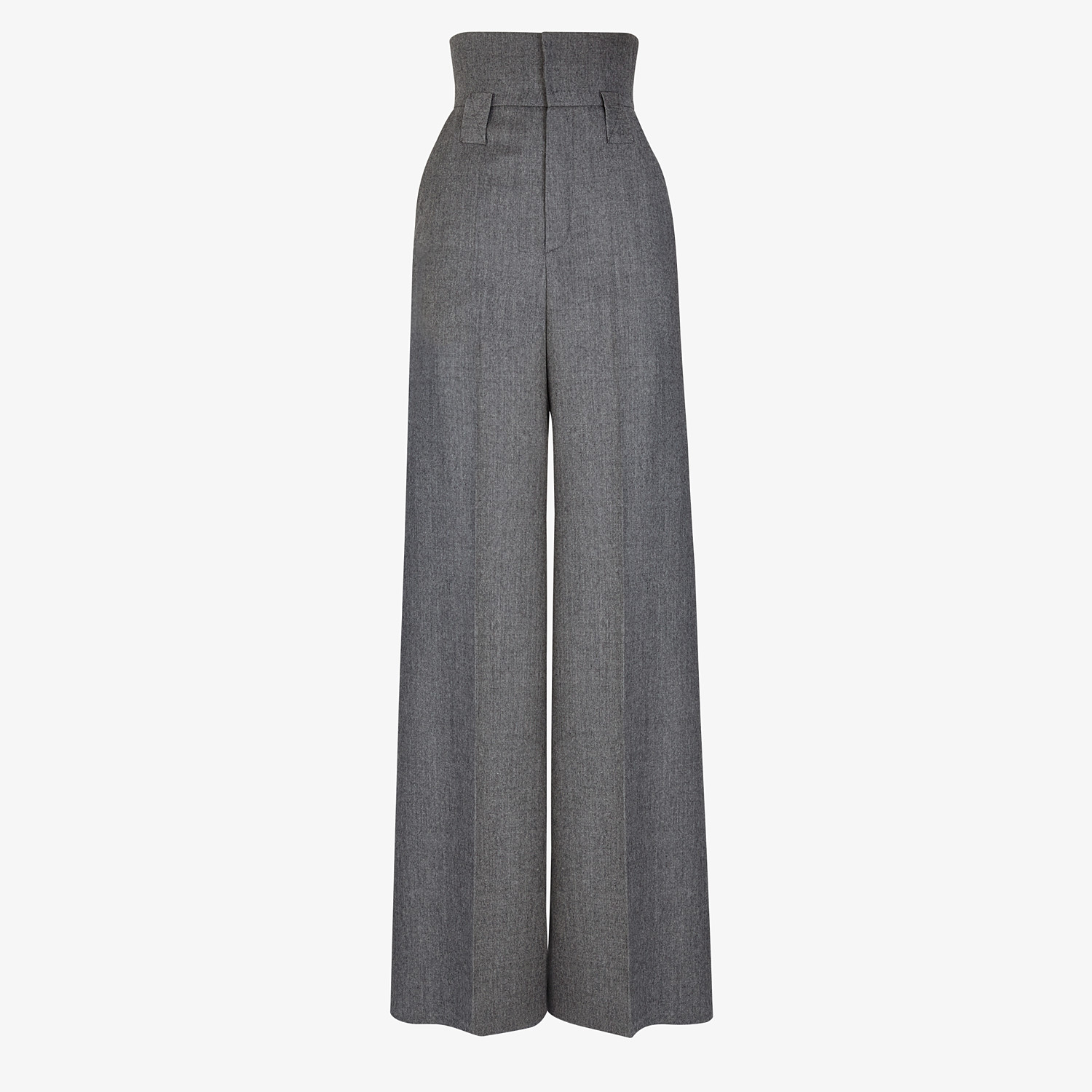 FENDI TROUSERS - Grey flannel trousers - view 1 detail