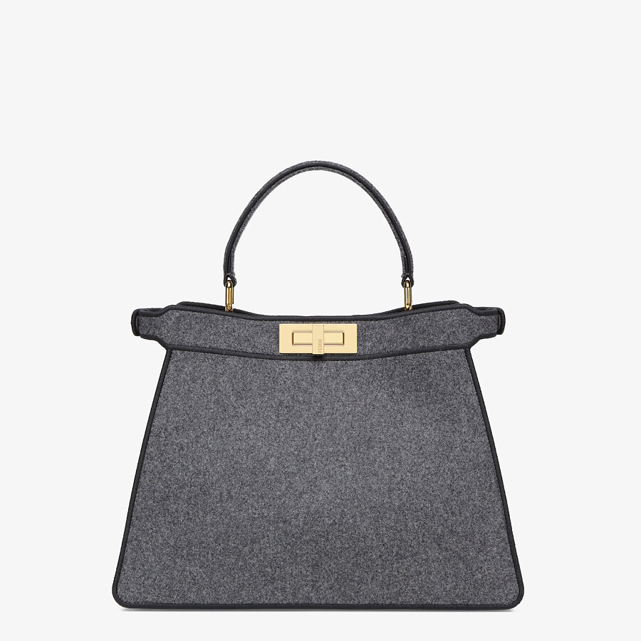 FENDI MEDIUM PEEKABOO ISEEU - Gray flannel bag - view 6 detail