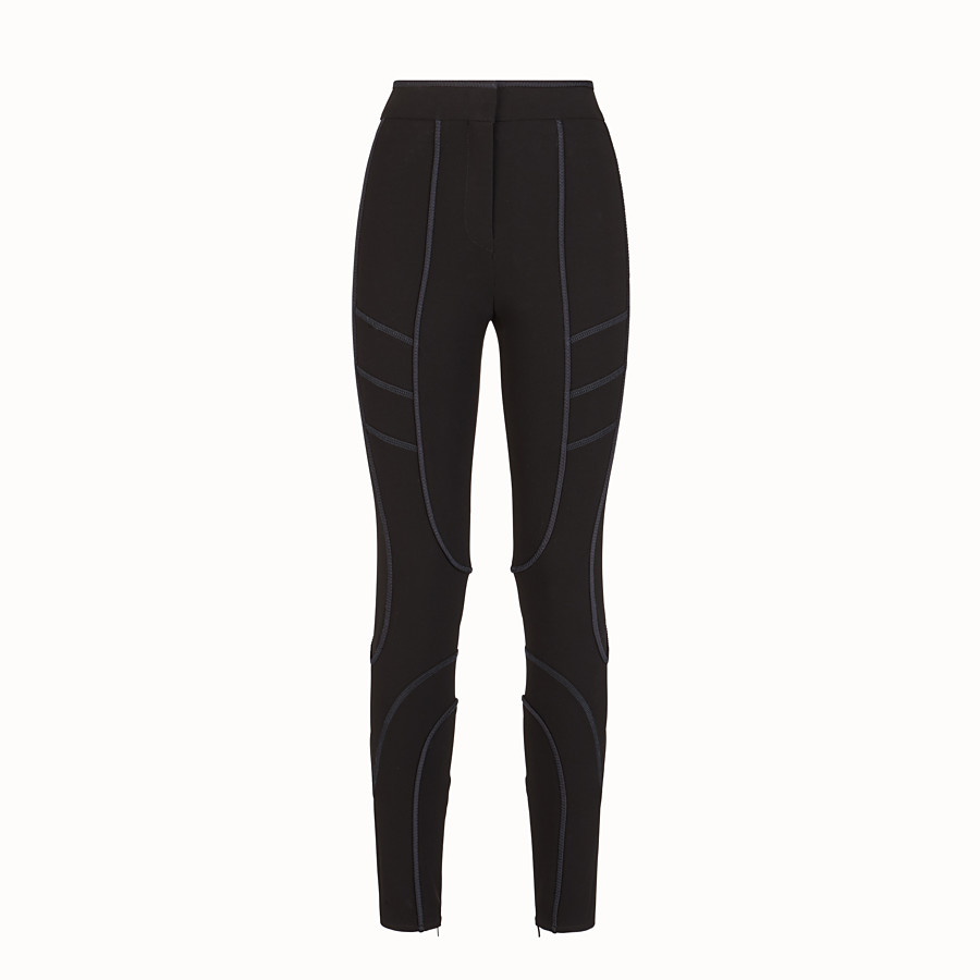 FENDI TROUSERS - Black tech fabric leggings - view 1 detail