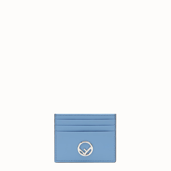 FENDI CARD HOLDER - Flat light blue leather card holder - view 1 small thumbnail