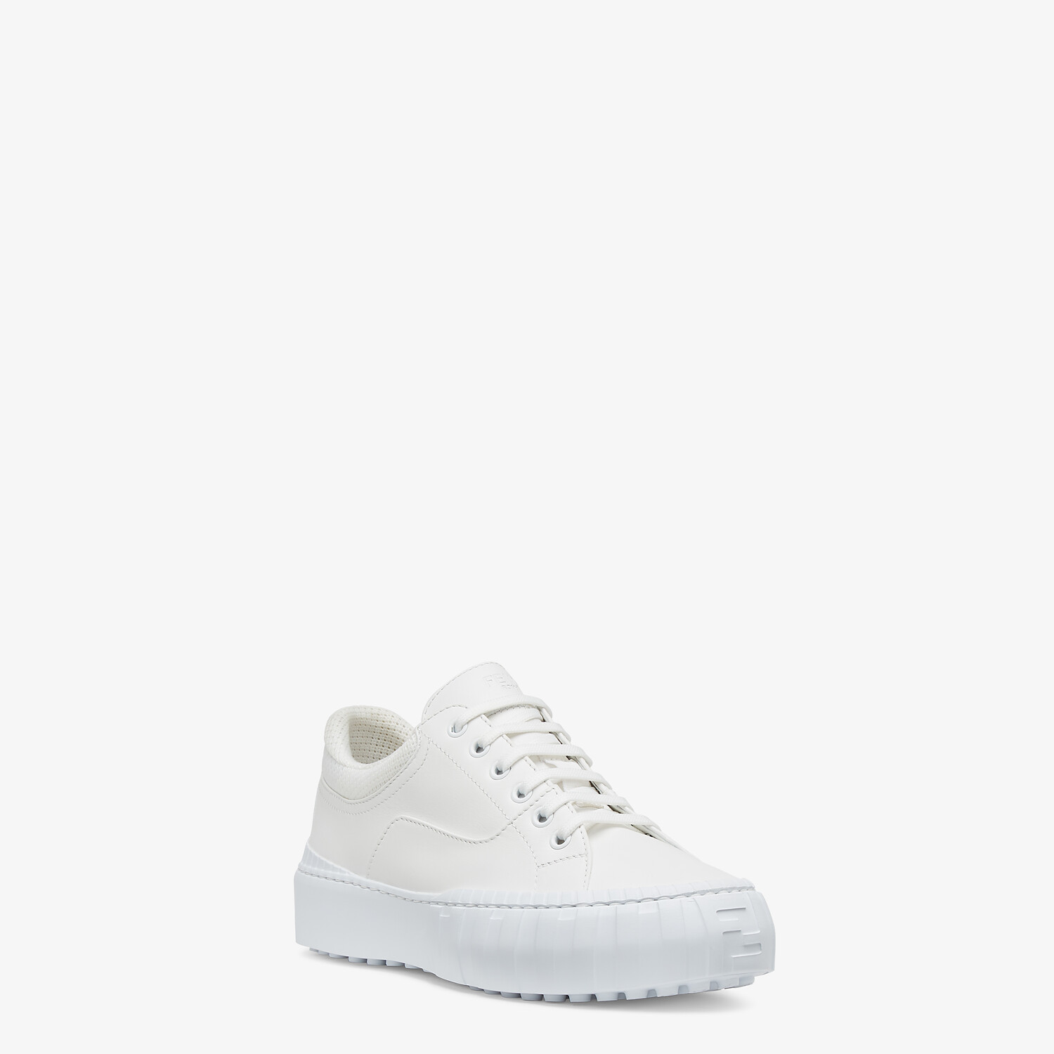 FENDI FENDI FORCE - White fabric and leather low tops - view 2 detail