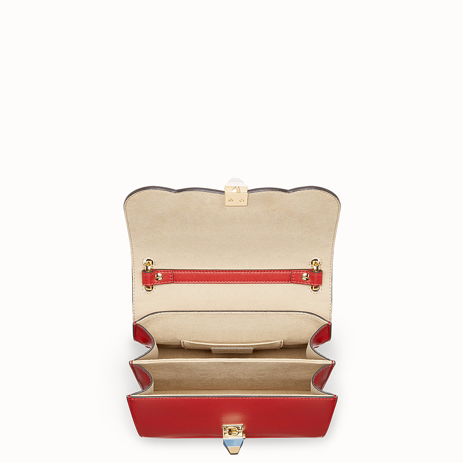 FENDI KAN I SMALL - Red leather mini-bag with exotic details - view 4 detail