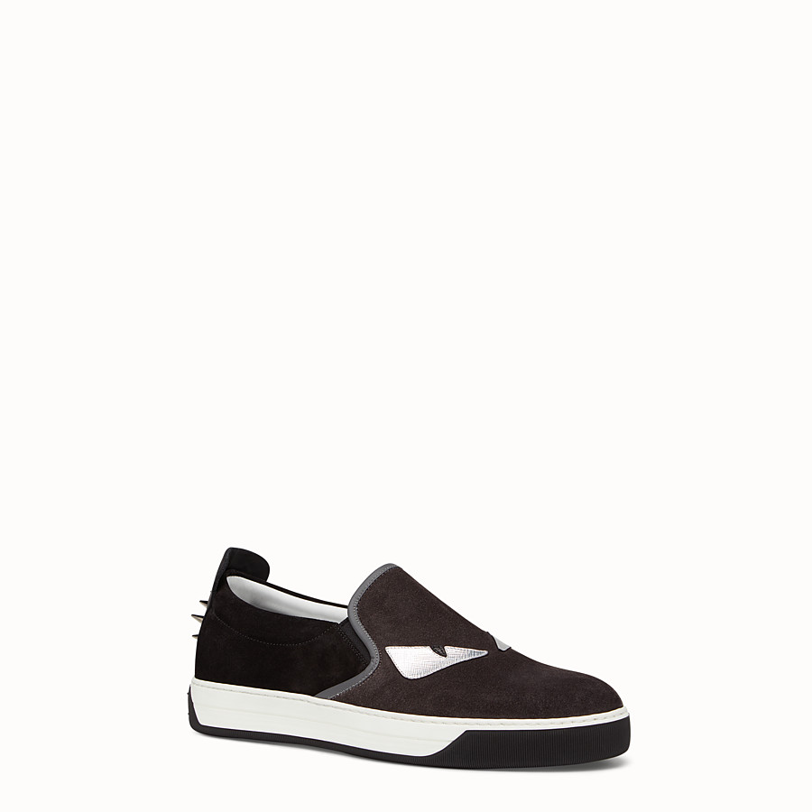 FENDI SNEAKER - black and grey suede slip-on - view 2 detail