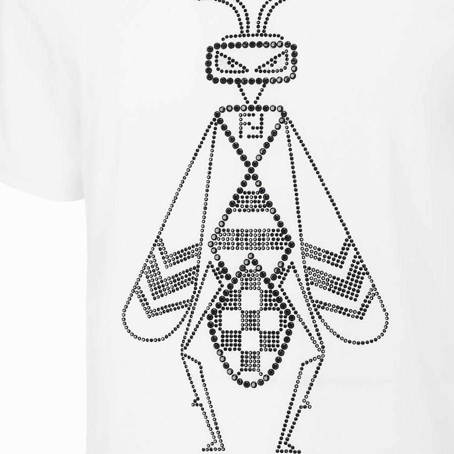 FENDI T-SHIRT - White cotton jersey T-shirt - view 3 detail