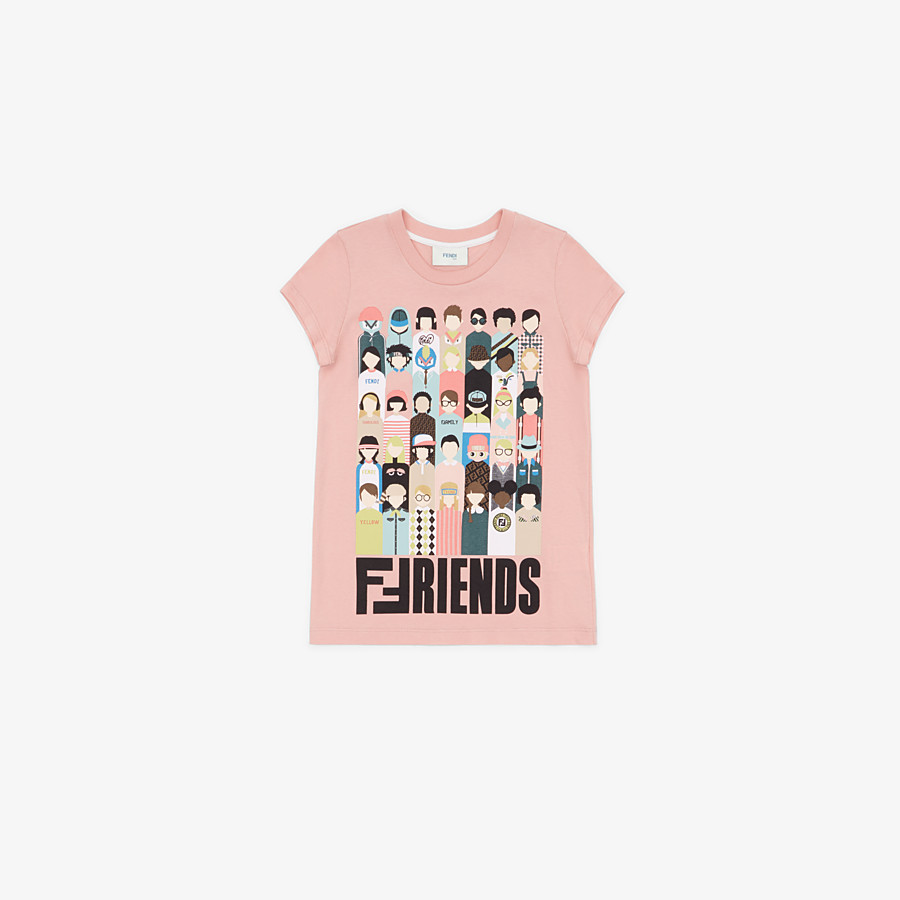 FENDI T-SHIRT - T-Shirt in cotone rosa - vista 1 dettaglio