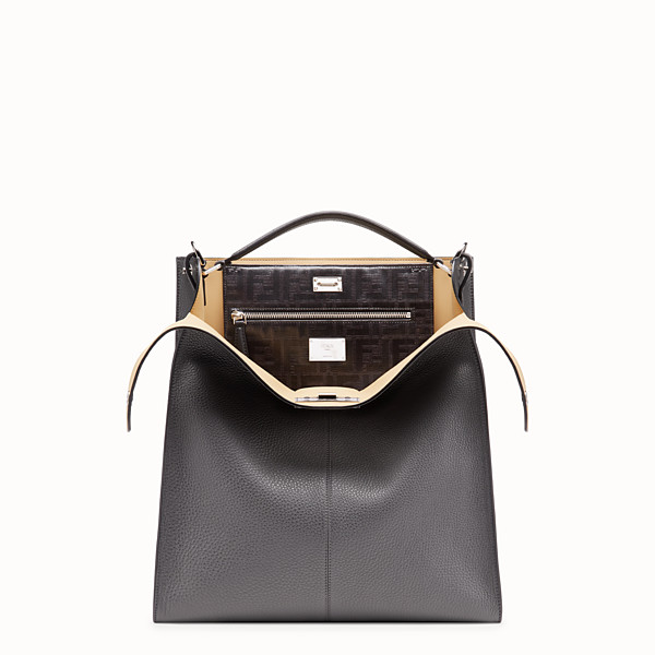 FENDI PEEKABOO X-LITE FIT - Grey leather bag - view 1 small thumbnail