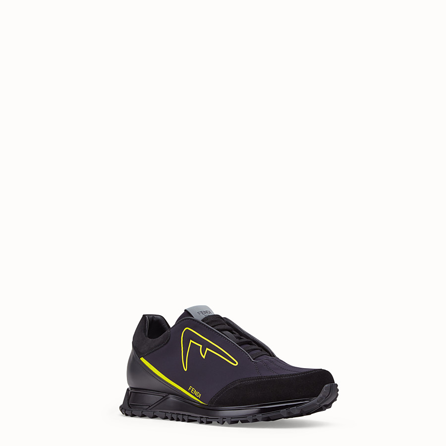 FENDI SNEAKERS - Black scuba low-tops - view 2 detail