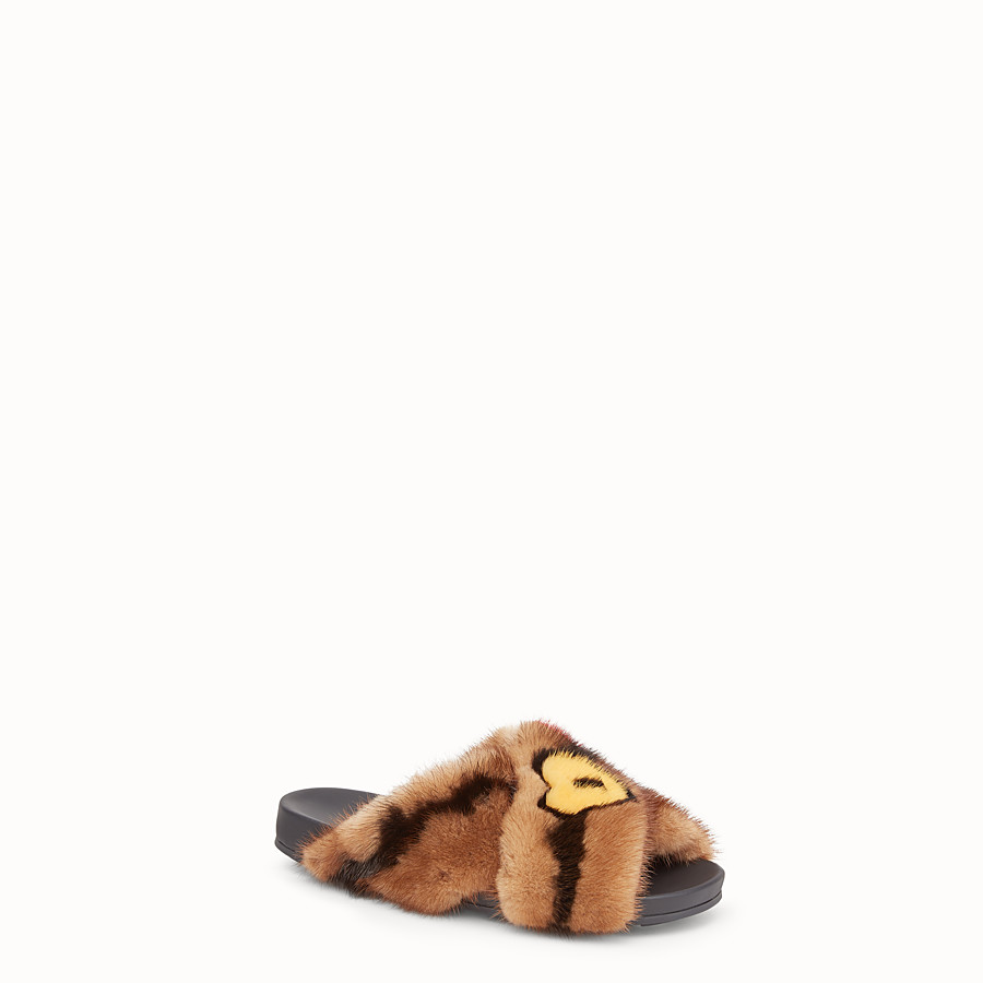 FENDI SANDALS - Multicolour fur slides - view 2 detail