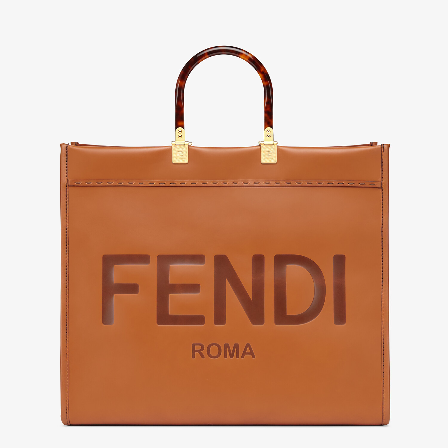 FENDI SUNSHINE SHOPPER - Brown leather shopper - view 1 detail