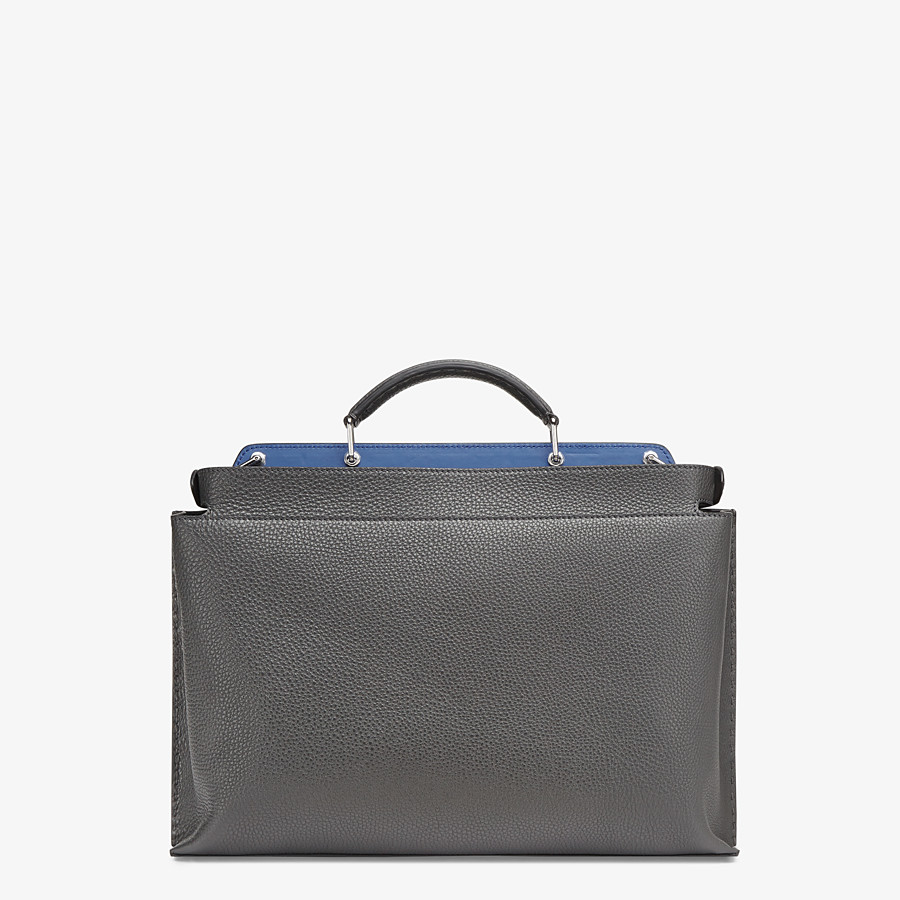 FENDI PEEKABOO ICONIC ESSENTIAL - Gray leather bag - view 3 detail