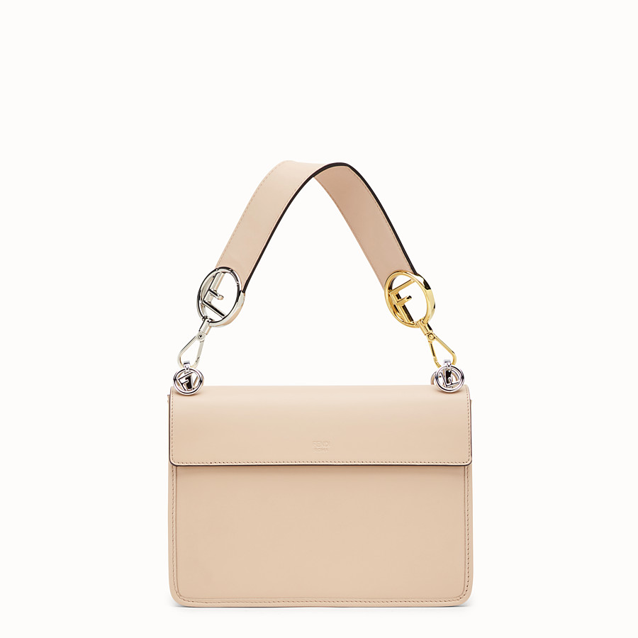 FENDI KAN I F - Beige leather and silk bag - view 3 detail