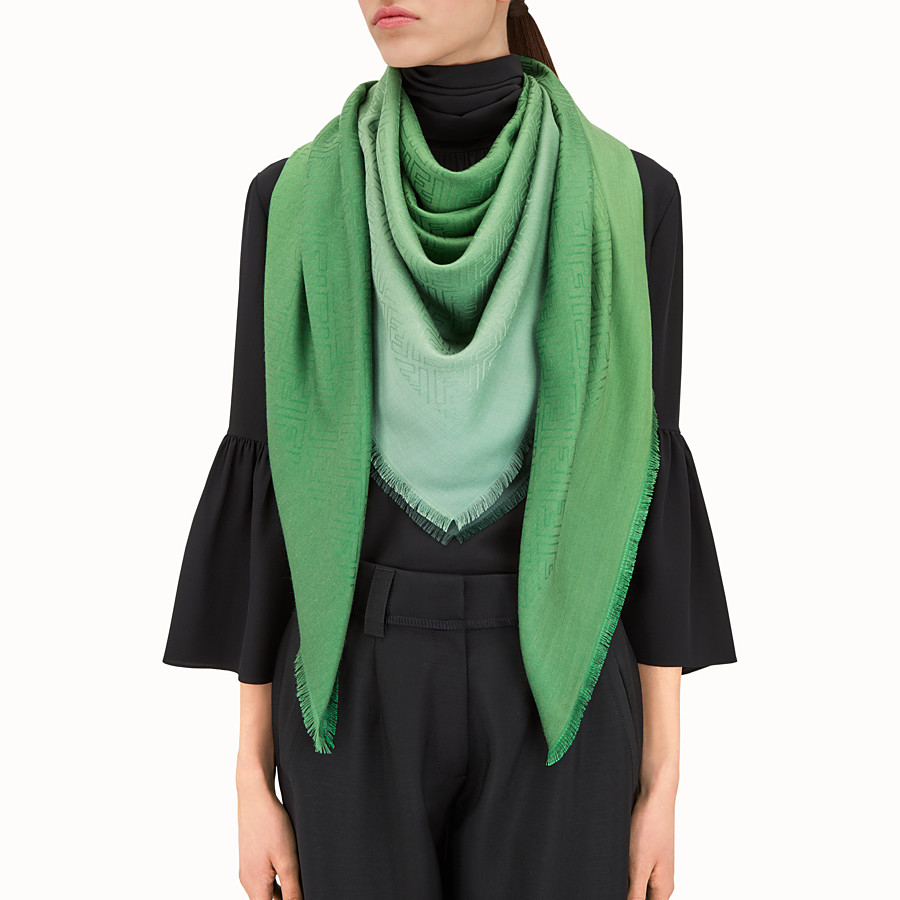 FENDI SIGNATURE SHAWL - Shawl in green silk and wool - view 3 detail