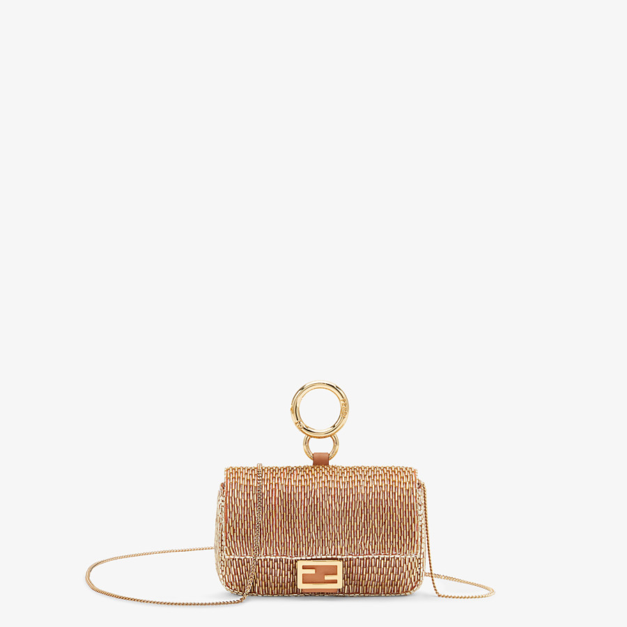FENDI NANO BAGUETTE - Brown leather charm - view 1 detail