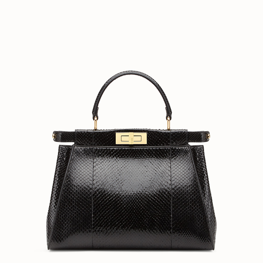 FENDI PEEKABOO REGULAR - Black python handbag. - view 1 detail