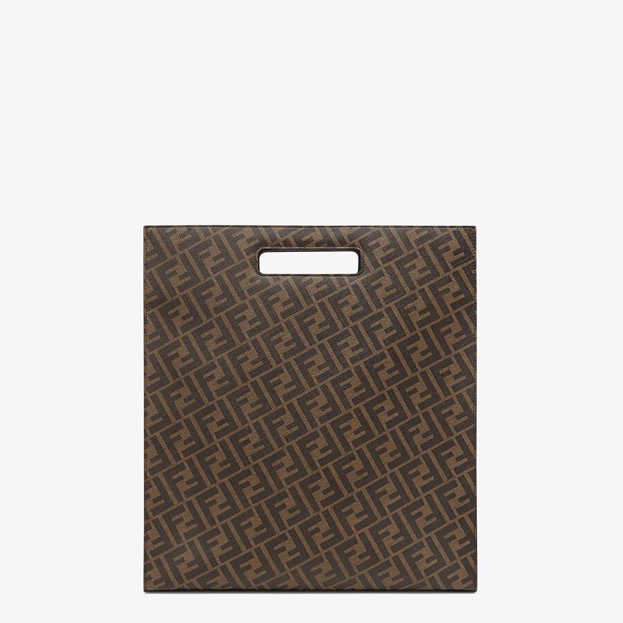 FENDI SHOPPING BAG - Brown fabric shopping bag - view 4 detail