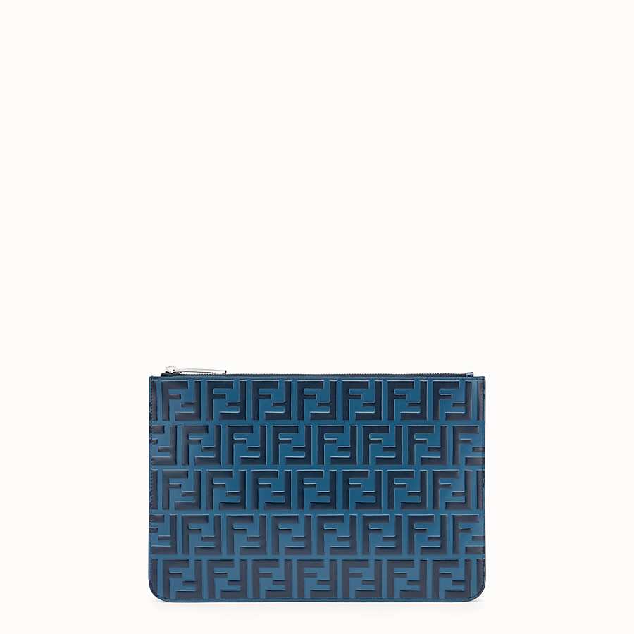 FENDI POUCH - Blue leather pochette - view 1 detail