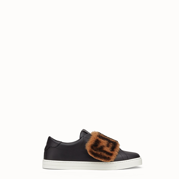 FENDI SNEAKERS - Chaussures sans lacets en cuir noir - view 1 small thumbnail