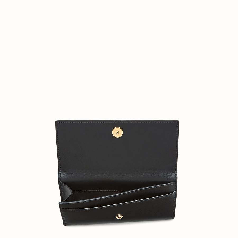 FENDI WALLET - Slim continental wallet in black leather - view 4 detail