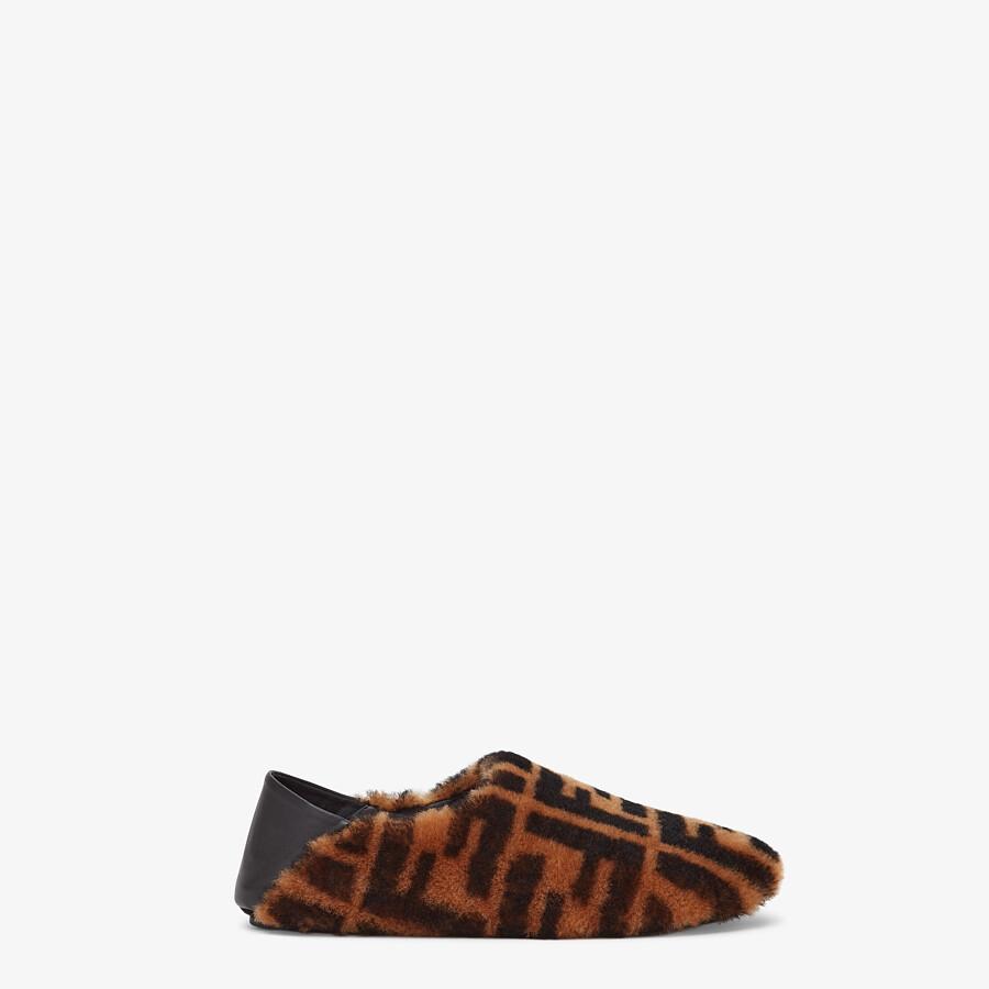 FENDI SIGNATURE - Brown sheepskin slippers - view 1 detail