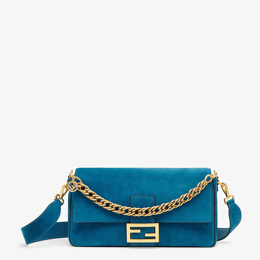 FENDI BAGUETTE LARGE - Light blue suede bag - view 1 detail