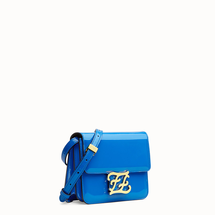 FENDI KARLIGRAPHY - Tasche aus Lackleder in Blau - view 2 detail