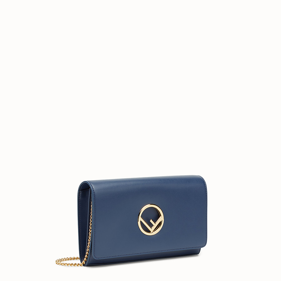FENDI WALLET ON CHAIN - Dark blue leather mini-bag - view 2 detail
