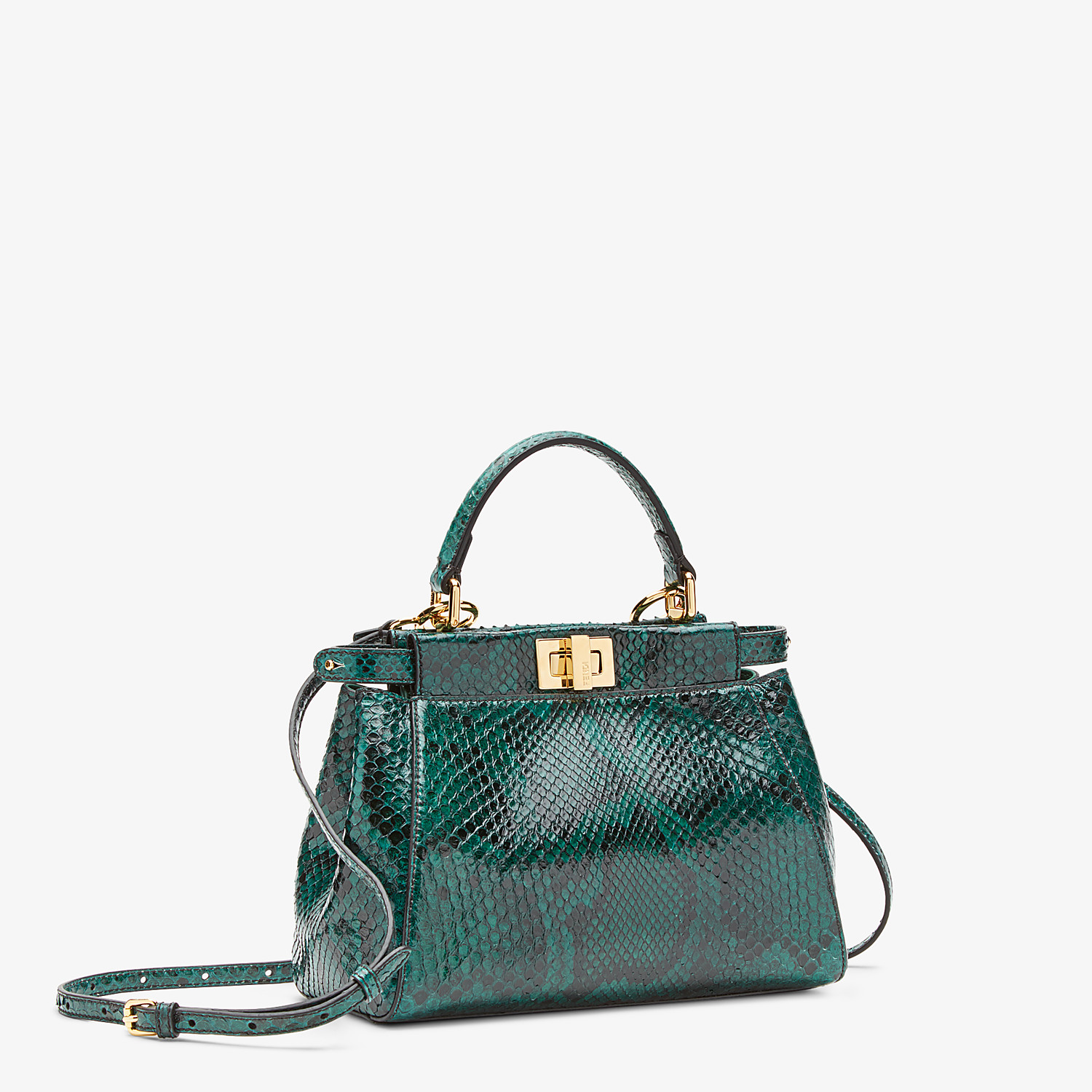 FENDI PEEKABOO ICONIC MINI - Green python bag - view 2 detail