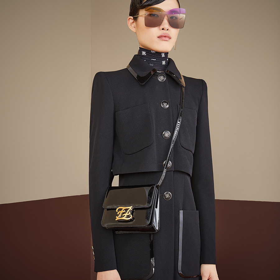 FENDI KARLIGRAPHY - Black patent leather bag - view 2 detail