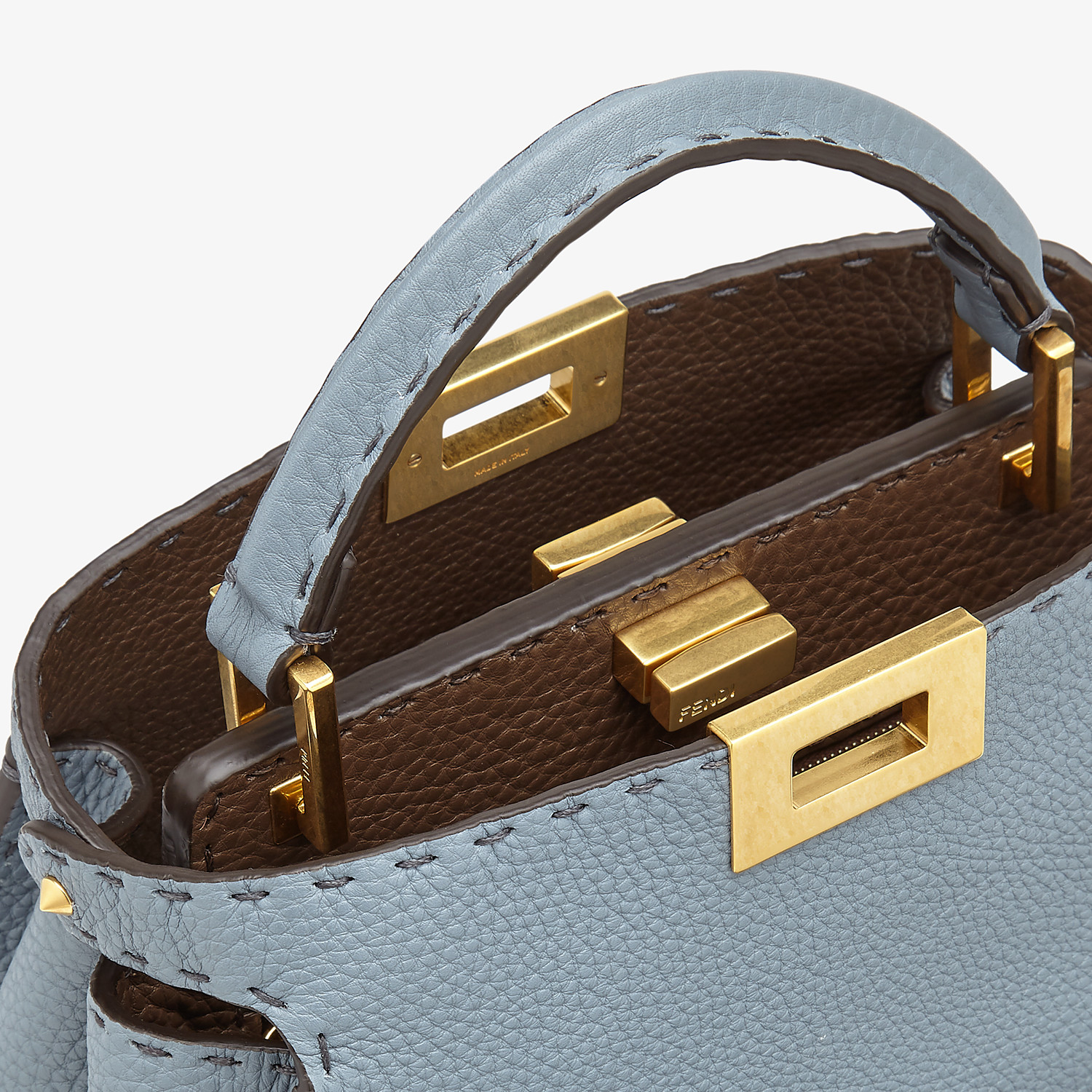FENDI PEEKABOO ICONIC ESSENTIALLY - Light blue leather bag - view 5 detail