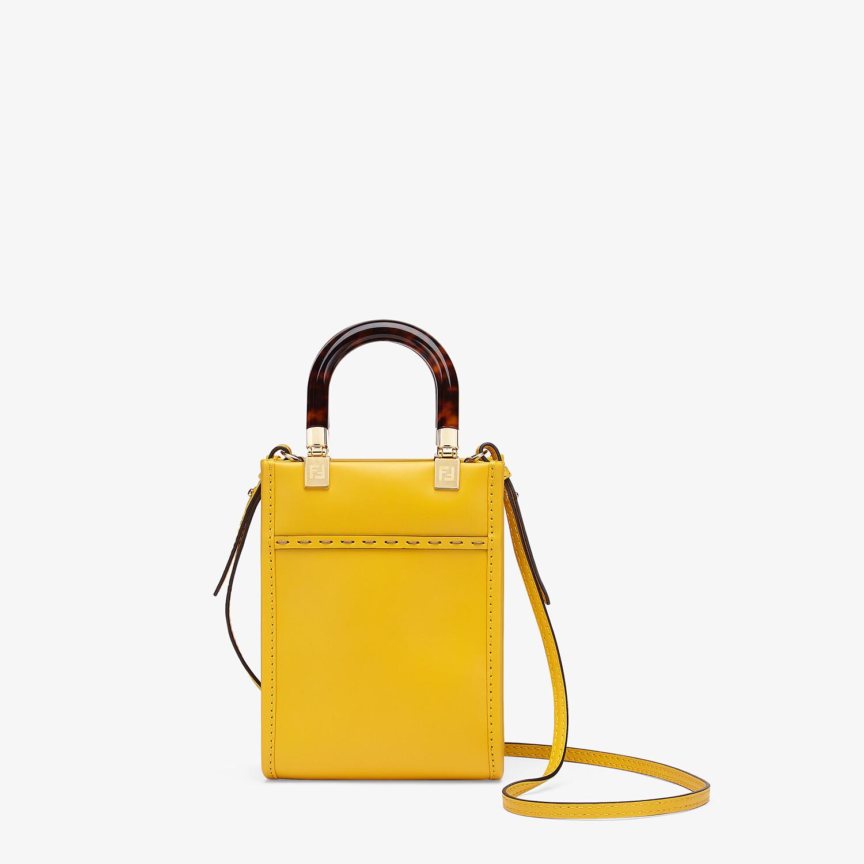 FENDI MINI SUNSHINE SHOPPER - Yellow leather mini-bag - view 3 detail