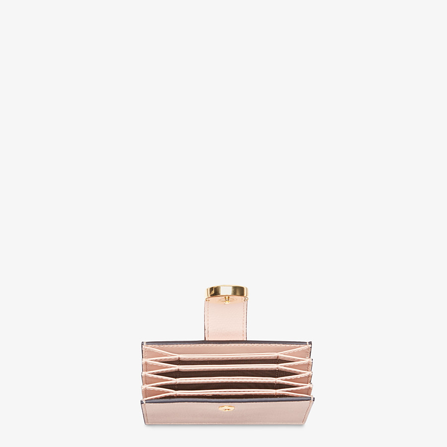 FENDI CARD HOLDER - Pink leather gusseted card holder - view 3 detail